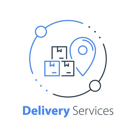 Order delivery, receive postal parcel, pick up point, collect purchase, give away office, wholesale service, bulk transportation or logistics, move and relocate, vector thin line icon