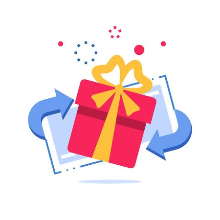 Prize giveaway, loyalty card, present box, gift certificate, incentive or perks, bonus program, discount coupon, vector flat design illustration