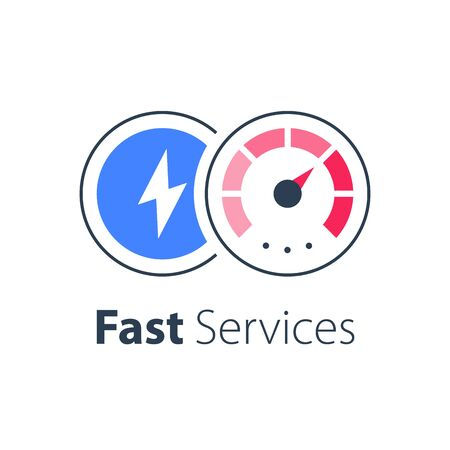 Express services, fast solution, business acceleration, maximum level on speedometer, efficiency concept, vector flat icon Ilustrace