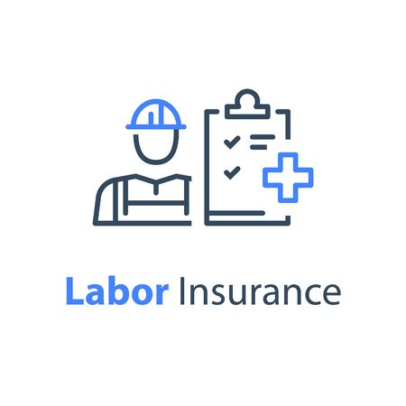 Worker and check list, medical insurance, labor safety, health protection, injury coverage, vector line icon