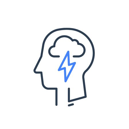 Human head profile and cloud lightning line icon, cognitive psychology or psychotherapy concept, mental health, mind disorder, brain illness, panic attack, depression or negative thought