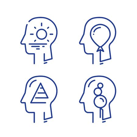 Human head profile, cognitive psychology or psychotherapy concept, self esteem or ego, inner calm or mental balance, mindful or awareness, vector line icon set