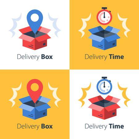 Pünktliche Lieferung, schneller Service, Bestellversand, Frachttransport, Paketempfang, Post, Abholpunkt, Post sammeln, Box und Stoppuhr, Wartezeit, Vektor-Flachsymbol-Set