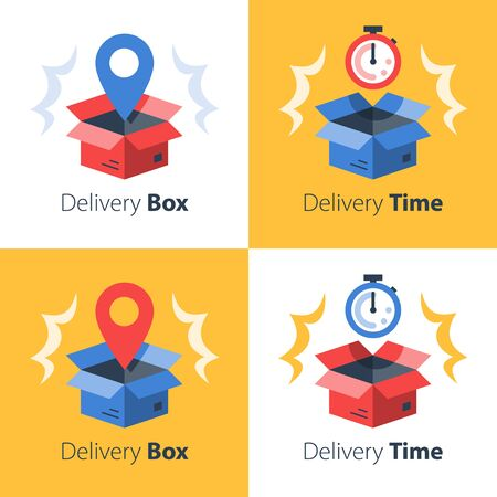 Timely delivery, fast service, order shipment, cargo transportation, receive parcel, postal office, pick up point, collect mail, box and stopwatch, waiting time, vector flat icon set Vectores