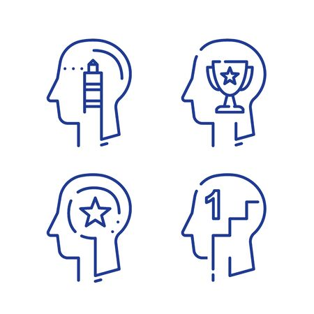 Human head profile and cup, growth motivation concept, leadership training course, employee of the month, winner trophy, personal perfection or superiority, vector line icon set Stock Illustratie
