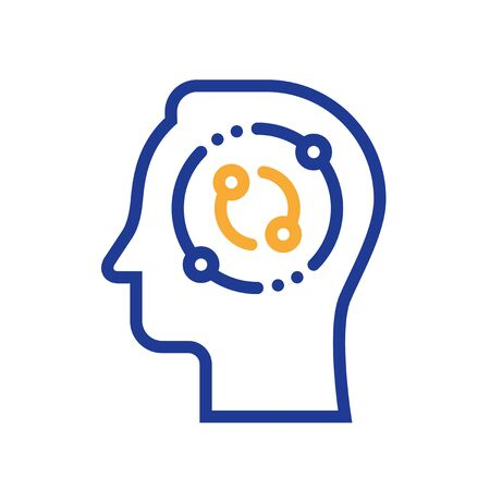 Decision making, critical thinking, psychology or psychiatry, neurology science, education concept, vector line icon, outline illustration