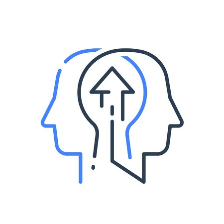 Human head profile and arrow line icon, growth mindset, potential development, leadership education concept, retraining course, motivational psychology, strategic thinking, vector linear design