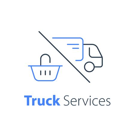 Shopping order delivery, truck distribution, purchase shipping, basket line icon, convenient service, vector linear design