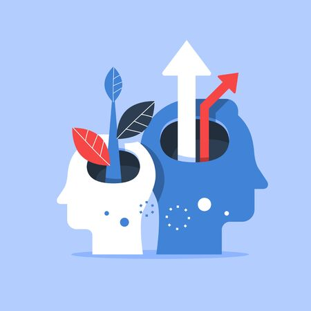 Human head and arrow up, next level improvement, training and mentoring, pursuit of happiness, self esteem and confidence, vector flat illustration Vetores