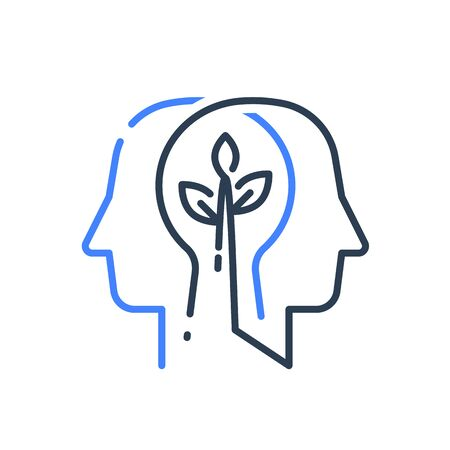 Human head profile and plant stem, cognitive psychology or psychiatry concept, mental health, brain illness, positive thinking, growth mindset, self esteem, personal development, vector line icon Çizim