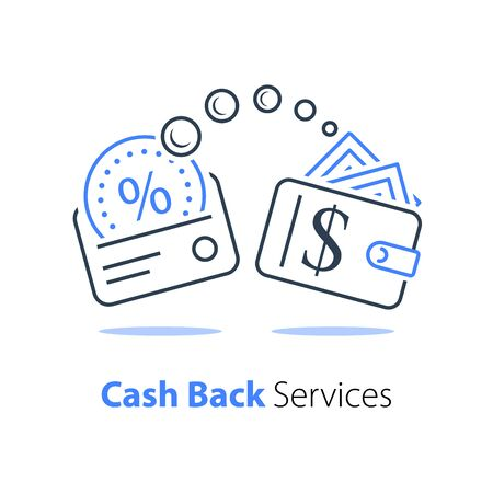 Cash back program, financial services, fast loan, credit card payment, wallet with money, wealth management, vector line icon