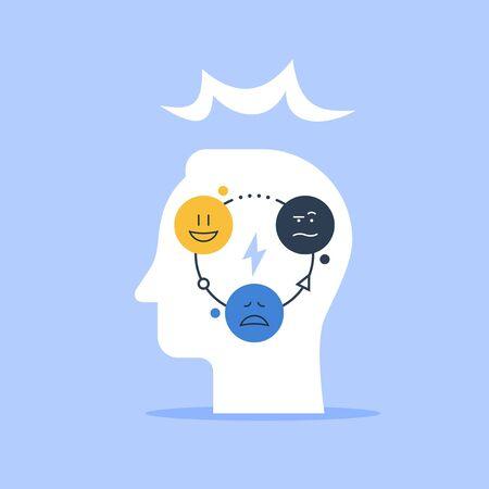 Concept de psychologie positive, test psychologique, intelligence émotionnelle, sentiments de contrôle, compréhension de soi, saute d'humeur, illustration vectorielle à plat