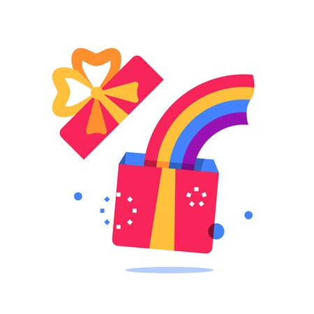 Open yellow box with red ribbon, surprise gift and rainbow, special reward, prize giveaway, loyalty present, bonus program, creative idea, vector flat design illustration