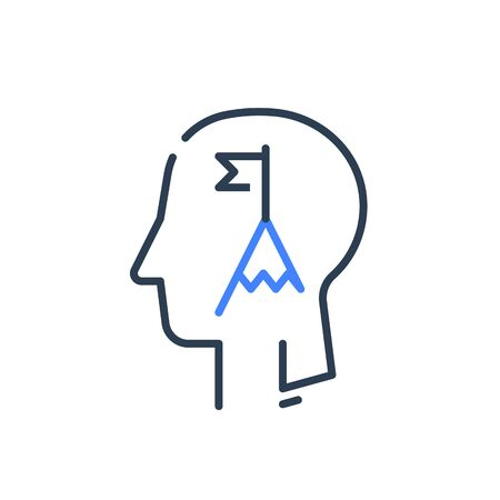 Human head profile and mountain summit, motivational psychology, goal achievement, growth mindset, success strategy, leadership training, vector line icon Illustration