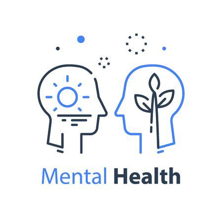 Human head profile, cognitive psychology or psychotherapy concept, self esteem or ego, inner calm or mental balance, mindful or awareness, vector line design Ilustrace