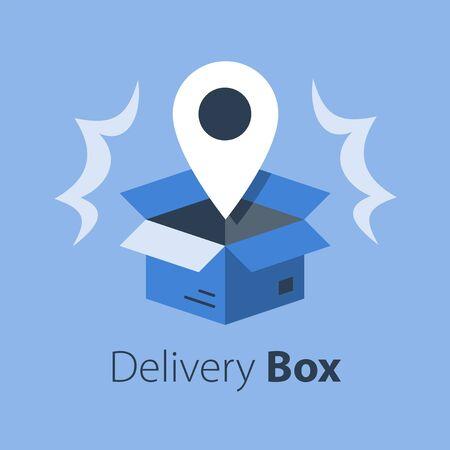 Levering van winkelorders, open doos en locatiepin, volgdoos, ontvang postpakket, ophaalpunt, distributieservice, platte vectorillustratie Vector Illustratie