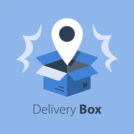 Shop order delivery, open box and location pin, tracking box, receive postal parcel, pick up point, distribution service, vector flat illustration