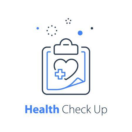 Health check up, heart system exam, hypertension symptoms, cardiovascular disease test, medical program, annual examination plan, vector thin line icon Ilustracje wektorowe