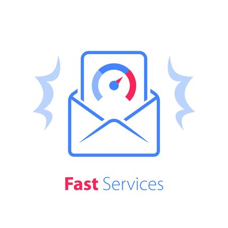 Fast services, email letter, open envelope, internet marketing solution, send document, vector line icon
