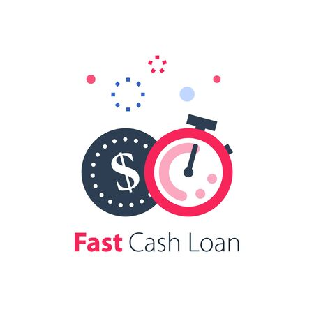 Fast cash loan, easy money, stopwatch and coin, time is money concept, quick finance solution, clock and dollar sign, timely payment, vector flat icon