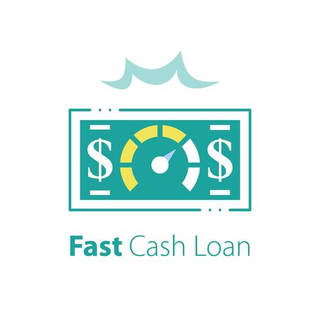 Fast cash loan, more money, financial solution, quick business credit, easy mortgage, fund raising, return on investment concept, vector line icon
