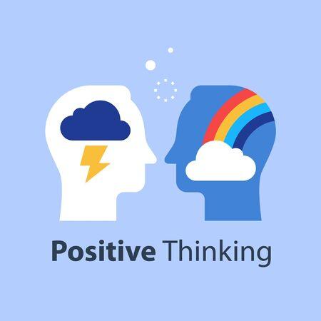 Pensée positive ou négative, nuage et arc-en-ciel dans la tête, bonne ou mauvaise attitude, concept d'état d'esprit, se sentir heureux ou malheureux, illustration vectorielle à plat