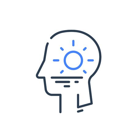 Human head profile and sunrise, cognitive psychology or psychiatry concept, inner calm or harmony, mental balance, positive thinking, mindful or conscious, vector line icon