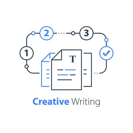 Creative writing and storytelling, education plan, document formation, contract terms and conditions, vector line icon