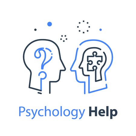 Human head profile, psychology professional or psychotherapy concept, help and advice, mental health test, logic game, memory improvement, vector line illustration
