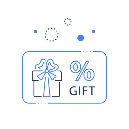 Prize giveaway, loyalty card, present box, percentage sign and gift certificate, incentive or perks, bonus program, discount coupon, vector line icon