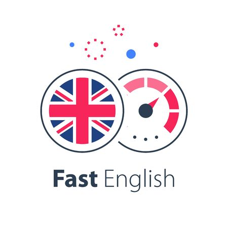 English language learning, express course, fast education, round British flag and speedometer, next level improvement concept, easy training, vector icon Vectores