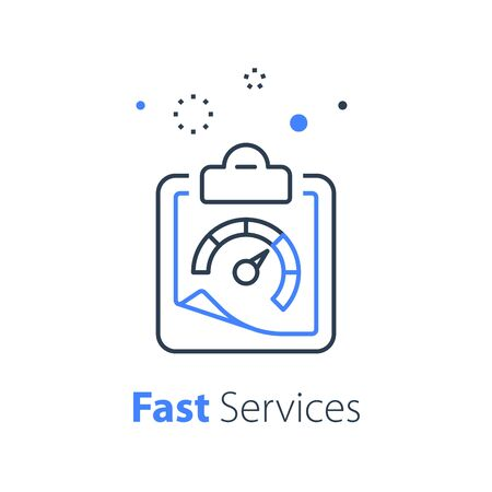 Fast services, clipboard line icon, short questionnaire, quick survey, speed concept, vector linear design