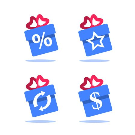 Gift box, loyalty program, earn points, win present, redeem bonus, giveaway concept, vector flat icon