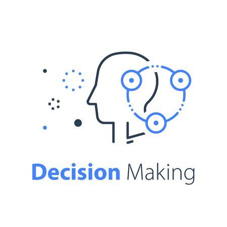 Processo decisionale, neurologia o concetto di comportamento, ricerca sul cervello, ricerca in sociologia, focus group, icona della linea vettoriale