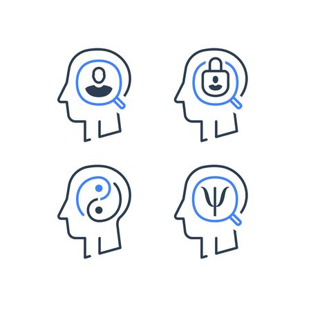 Human head profile and psychology symbol, mental health, help and development, consulting and guidance, vector line icon set Vectores