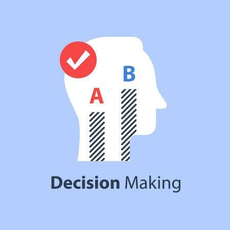 Decision making, choose between two options, survey or opinion poll, sociology concept, vector flat illustration Vettoriali