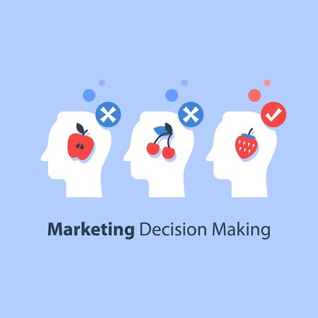 Decision making, psychology of choice, focus group, marketing concept, mindset or bias, manipulation and persuasion, mental trap, cognitive delusion, vector flat illustration