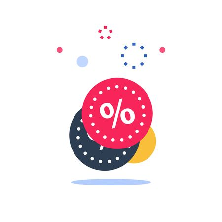 Loyalty program, discount coupon, limited offer, cheap price, percentage sign, vector flat icon