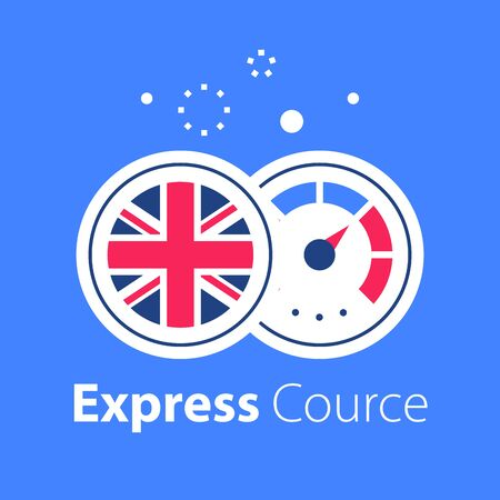 English language learning, express course, fast education, round British flag and speedometer, next level improvement concept, easy training, vector icon  イラスト・ベクター素材