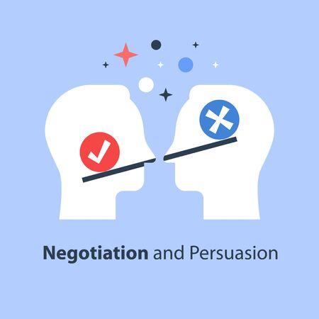 Processo decisionale, superamento della scala, pregiudizio e mentalità, positivo o negativo, tra due parti, negoziazione e persuasione, mutuo accordo, illustrazione piatta vettoriale di lavoro di squadra