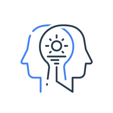 Human head profile and sunrise, cognitive psychology or psychiatry concept, inner calm or harmony, mental balance, positive thinking, mindful or conscious, vector line icon Stock Vector - 133867067