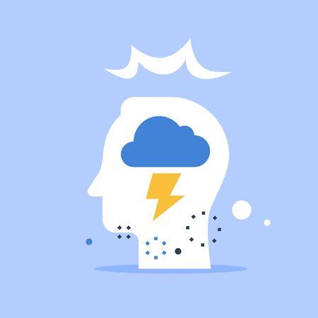 Head with cloud and lightning bolt, psychology concept, aggressive behavior, control of emotions, critical thinking, vector flat illustration Ilustração