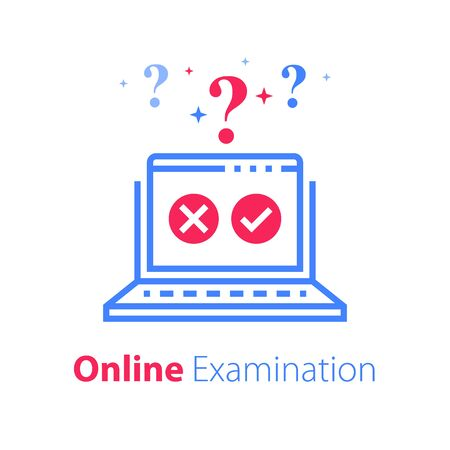 Online exam, pass test, checklist on monitor, check knowledge, complete internet course, web vote, questionnaire or quiz, finish study, fill form and submit, vector line icon