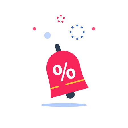 Marketing and promotion, sale announcement, ringing bell with percentage sign, season clearance, special offer, low price, loyalty program, vector flat icon