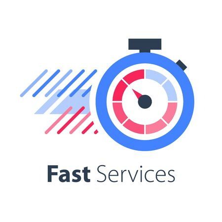Stopwatch in motion, last minute chance, limited offer, fast or express services, running time, timely delivery, vector flat icon