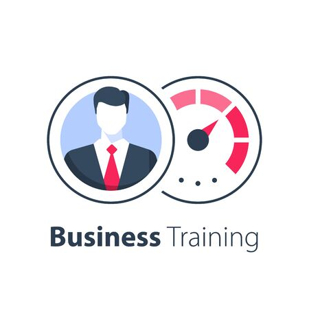 Business training course, administration or project management, fast performance improvement, entrepreneur workshop, career strategy, leadership concept, coaching or consulting service, vector icon