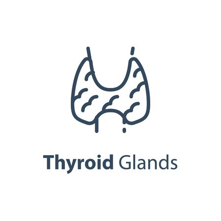 Human internal organ, thyroid glands concept, vector line icon, linear design illustration Vettoriali
