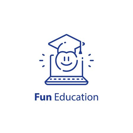 Emoticon and education concept, fun learning, preschool preparation, online study, educational resources, vector outline icon