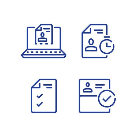 Enviar documento en línea, servicio a distancia, enviar currículum vitae por Internet, icono de línea vectorial