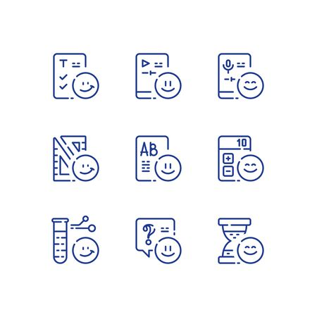 Preschool education concept, learning educational subject, knowledge improvement, ability development, fun studying, vector line icon set